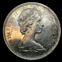 1966 Uncirculated $1.00 Canada Silver Dollar .800 Silver • Proof Like & Toning.