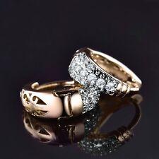 Fashion 18K Gold Filled Swarovski Crystal Women Diamante Hoop Earrings Jewellery