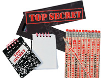 Pack of 36 Top Secret Stationery Pack, Pencils Bookmarks Notepads Party Fillers