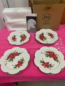 Princess House Marbella Poinsettia Luncheon Plates Set of 4 New In Box #1712