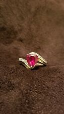 Gold Plated Sterling Silver Ruby Heart Ring with CZ Swirl Accents around Heart