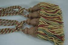 Tassel Tie Backs DOUBLE TASSEL Curtain Tiebacks KRAVET NWOT- Pair Yell Pin Gre