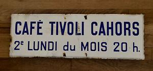 "Vtg French Blue Enamel Sign CAFE TIVOLI CAHORS  24"" x 8"""