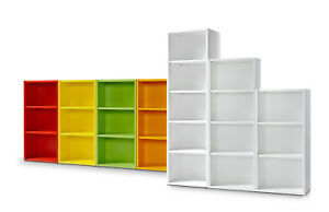 Clic Regal S 108cm Bücherregal 3 Höhen 9 Farben werkzeuglose Montage Clic System
