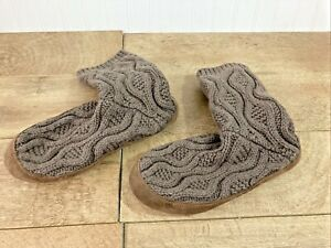 LL BEAN KNITTED WOOL & LEATHER SLIPPER SOCKS SIZE MED. MEN 9 - 10, W 10.5 - 11.5