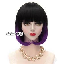 Black Mixed Purple Short 30CM Wavy Bob Ombre Women Coplay Party Wig + Wig cap