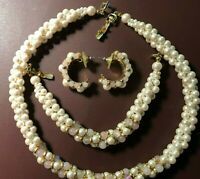 Vintage Faux Pink and White Pearls Gold Plated Beads Necklace Set