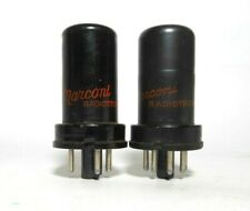 Matched PAIR Marconi Radiotron 6J5 Tubes Triode Audio Note 1950s Used -Test NOS