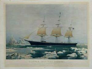 CLIPPER SHIP RED JACKET N.CURRIER HAND COLORED ANTIQUE PRINT OESTREICHER STAMP