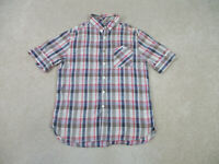 Guess Shirt Adult Medium Brown Blue Plaid Button Up Casual Camp Mens 90s *