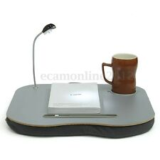 Laptop Cushion Knee Computer Tablet Reading Table Tray Cup Holder + 5 LED Light