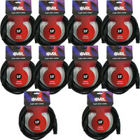 10 Pack VRL DMX 3-Pin Pro Lighting Effects Stage DJ Data Shielded Cables 10' ft