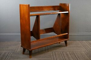 Mid Century Danish Modern 1950s Maple Wood Peg Leg Bookcase Shelf
