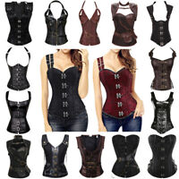 Women Steampunk Boned Waist Training Corset Gothic Basque Lace Up Bustier Tops