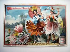 "Vintage Victorian Trade Card for ""Liebig's Fleisch-Extract"" w/ Flower People *"