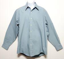 Haggar Men's Cadet Misty Blue Green Cotton Polyester Shirt Size 16 1/2 SL 34/35