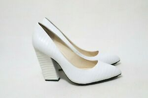 Wittner Size 9 Womens White Leather Small Croc Detail Block
