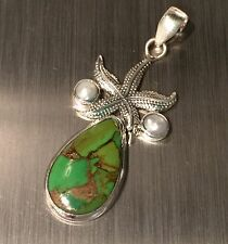 Green Copper Turquoise Starfish And Pearl Solid Sterling Silver Pendant 6.4g