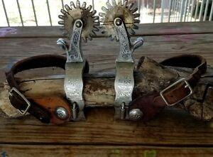 Beautiful Vintage Engraved Crockett Renalde Giant Western Cowboy Spurs *Estate*