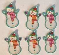Itty Bitty Christmas Snowman Faces - Iron On Fabric Appliques, Holiday