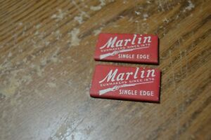 VINTAGE LOT OF 2 MARLIN SINGLE EDGE RAZOR BLADES NOS IN WRAPPERS