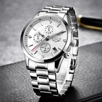 2021 LIGE Luxury Stainless Steel Men Watches Waterproof  Quartz Watch Men