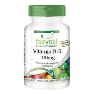 Vitamin B-3 Niacin 100mg Nicotinamid - 250 Tabl., Großpackung, VEGAN   fairvital