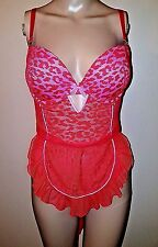 Victoria's Secret Leopard Orange Lace Apron Push Up Teddy Size 36D