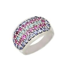 Natural Tanzanite Pink Sapphire Aquamarine Cluster Band Sterling Silver Ring
