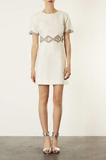 TOPSHOP LIMITED EDITION CREAM CUT OUT EMBELLISHED 60S SHIFT DRESS 14 42 10 £160