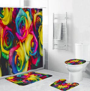 Colorful Rose Shower Curtain Bathroom Rug Set Bath Mat Non-Slip Toilet Lid Cover