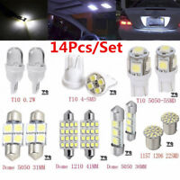 14 x LED White Interior Package Kit For T10&31mm Map Dome License Plate Lights