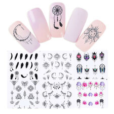 24 Sheets Dreamcatcher Feather Moon Water Decals Nail Art Transfer Stickers Tips