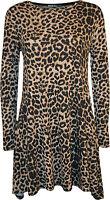 New Womens Plus Size Leopard Animal Print Long Sleeve Ladies Swing Dress 16-22