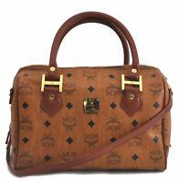 Authentic MCM Cognac Visetos Leather Vintage Shoulder Hand Bag 2Way Brown B8276