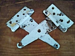 ANTIQUE AUTHENTIC PAIR OF WHITE CHIPPY RUSTY BARN DOOR HINGES