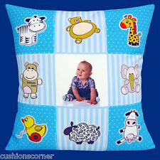 "PHOTO CUSHION COVER ADD YOUR PHOTO Nursery Baby Bedroom Patchwork Blue 16"" Cover"
