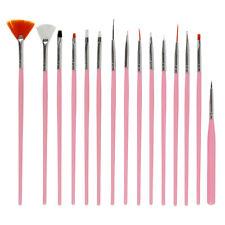 15X Nail Art Brush Set White/Pink Painting Pen Suit Polish Designs Manicure Tool