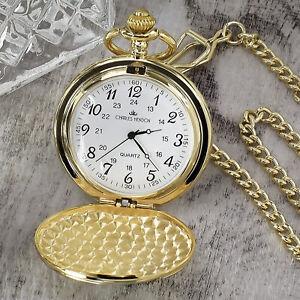 Personalised Gold Pocket Watch Wedding Usher Best Man Son Gift Engraved FREE