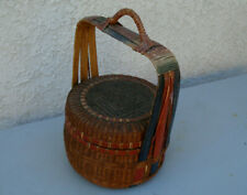 Antique/vintage Bamboo and rattan woven Chinese wedding basket
