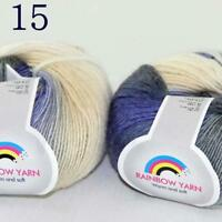 AIP Soft Cashmere Wool Colorful Rainbow Shawl DIY Hand Knitting Yarn 50grx2 15