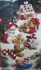 "Bucilla ""CHRISTMAS COOKIES"" Felt Christmas Ornaments Kit OOP Gingerbread 86148"