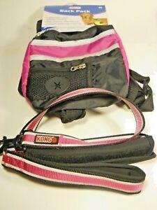Petco Dog Back Pack Size M Reflective Color Black/Pink + 4ft Kong Traffic Leash