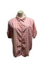 Woman Within Size 3X Hot Pink Plaid Button Up Shirt Top Blouse Casual Short Slv