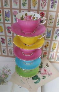 Vintage Harlequin Floral English Bone China Tea Cups & Saucers Set.