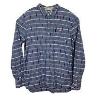Vans Button Down Shirt  XL Men's Long Sleeve Blue Stripes