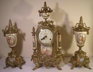 Franz Hermle Vintage Mantel Clock Garniture Good Working Order Lancini