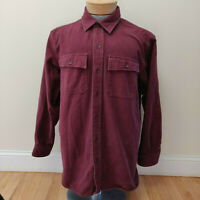 NEW LL Bean Chamois Cloth Mens Large Regular Flannel Shirt Red Button Front