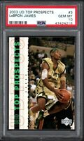 2003 Upper Deck Top Prospects #3 LEBRON JAMES Promo PSA 10 Gem Mint
