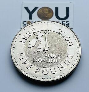 £5 Five Pound Coin 1999-2000   Millenium  Anno Domini SCARCE - FREE POST